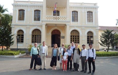 The research team in front of the Provincial Government Building in Kratie