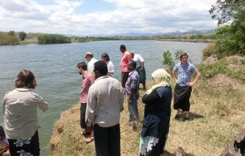 Inspection of river bank erosion in Votua