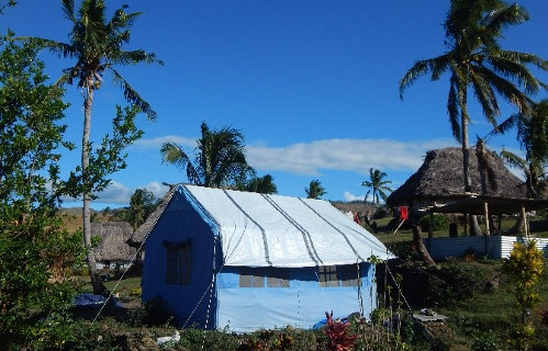 A tent provided by an external relief agency in Navala after Cyclone Winston